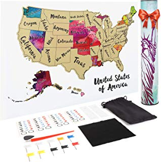 JARLINK Scratch off USA Map, 12X17 inches United States Map with Unique Accessories Set, Personalized Travel Tracker Poster USA Map Poster, Perfect Gift for Travelers