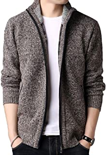 neveraway Men's Thick Zipper Closure Cardigan Stand Collar Sweater with Pockets