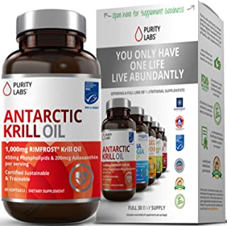 Purity Labs Wild Antarctic Krill Oil Double Strength 2,000mg Per Serving 60 Softgels Number 1 for Omega-3s EPA DHA Phospholipids and Astaxanthin Supports Heart Brain and Joint Health