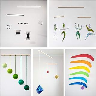 Set of 5 Montessori inspired mobiles - Black and White mobile, Green Gobbi, Dancers, Octahedron, Rainbow. Montessori mobil...
