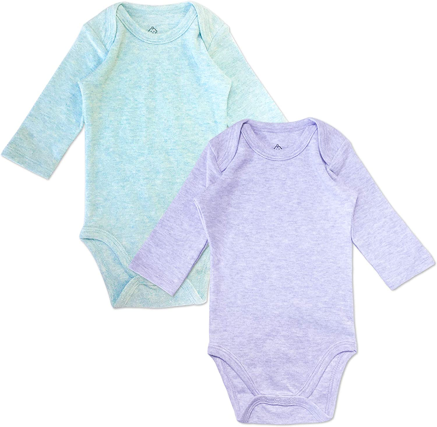 DEFAHN Unisex Baby Bodysuit Solid Long Sleeve 2-Pack One-Piece Cotton Undershirt for Girls Boys 0-24 Months
