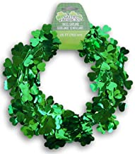 Seasonal Decor St. Patrick's Day Green Shamrock Tinsel Wire Garland - 25 Feet Long