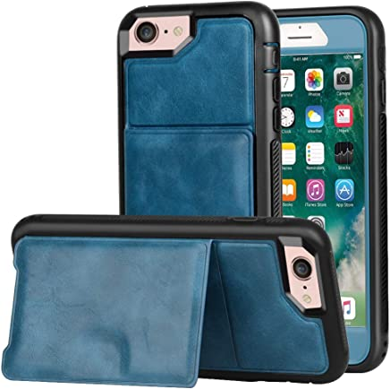 Wallet Case iPhone 7 / iPhone 8 Kickstand, ZAOX Military Grade Drop Protection Flip Premium Leather Protective Credit Card Slot Holder Magnetic Closure Shockproof Cover 4.7 inch