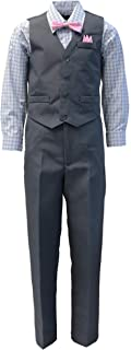 Vittorino Boys 4 Piece Suit Set with Vest Shirt Tie Pants and Hankerchief Yellow