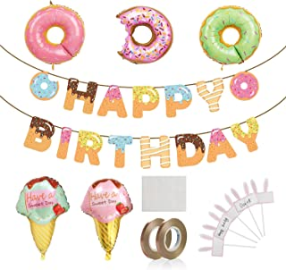 Donut Birthday Party Supplies Kit, Baphile Donut Happy Birthday Banner Donut Balloons Party Decoration for Donut Party Birthday Party Baby Shower Wall Decoration