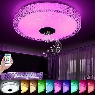 Luz LED para techo de música, con altavoz Bluetooth 36W, lámpara de techo con caída regulable de 90-265V, luz de fiesta doméstica RGB con control remoto de aplicaciones, hogar inteligente [Clase de ef