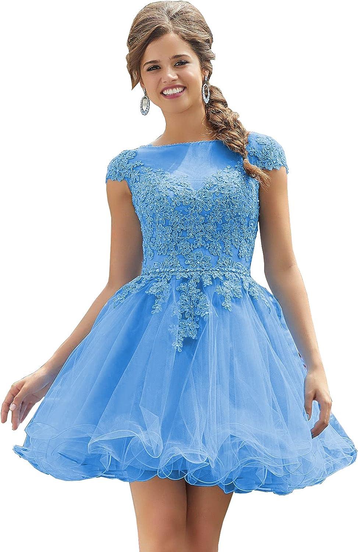 LINGLINGDING Women's Homecoming Dress Short Cocktail Dress Lace Homecoming Dress Tulle Appliques Prom Dresses for Girls