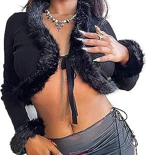 Cárdigan corto de punto sexy de manga larga con cuello en V para mujer, suéter con lazo frontal, ropa de punto Y2k Egirl e...
