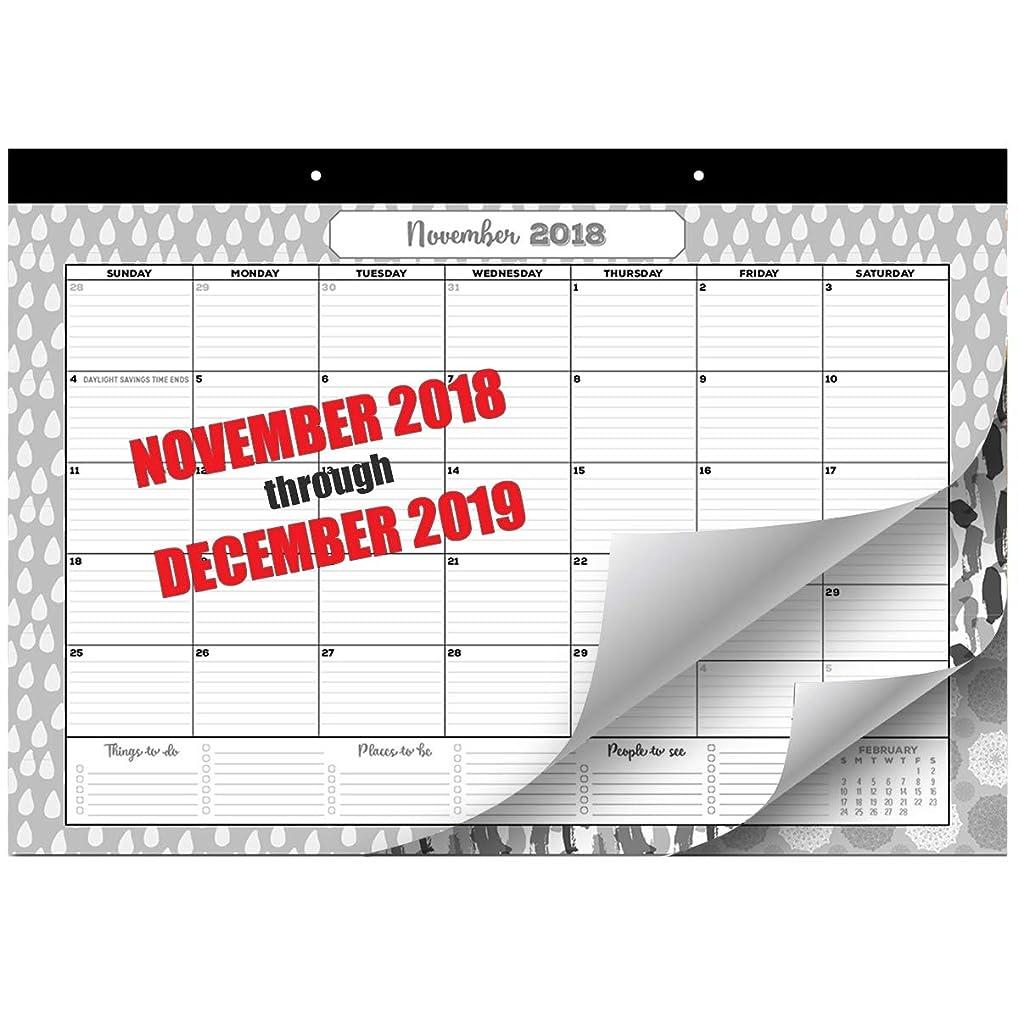 居住者クリスチャンオーナー卓上カレンダー 2018-2019 マンスリープランナー 2018年9月2018 12月2019日 17インチX11.4インチ 壁掛けカレンダー 厚紙付き デスクパッドカレンダー 家族やオフィスに