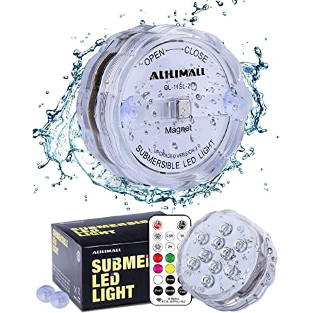 Alilimall Submersible LED Lights, Waterproof Hot Tub Lights Color Changing Underwater Light Strong RF Remote Controlled AA Battery Operated with Magnet Suction Cups for Pool Pond Spa Bathtub Accessory