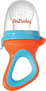 RaZbaby Baby Fruit Feeder/Food Feeder Pacifier, Infant Teething Toy Teether 6M+, Add Baby's Favorite Frozen Fruit or Fresh Food for Teething Relief, Silicone Pouch/Nipple, BPA Free, Orange/Blue