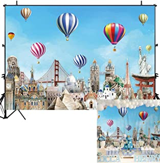 Allenjoy Adventure Awaits Travel Backdrop Hot Air Balloon Birthday Party Baby Shower Table Decorations Banner Up Up and Away Oh The Places You'll Go Worldwide 7x5ft Background Photo Booth Props