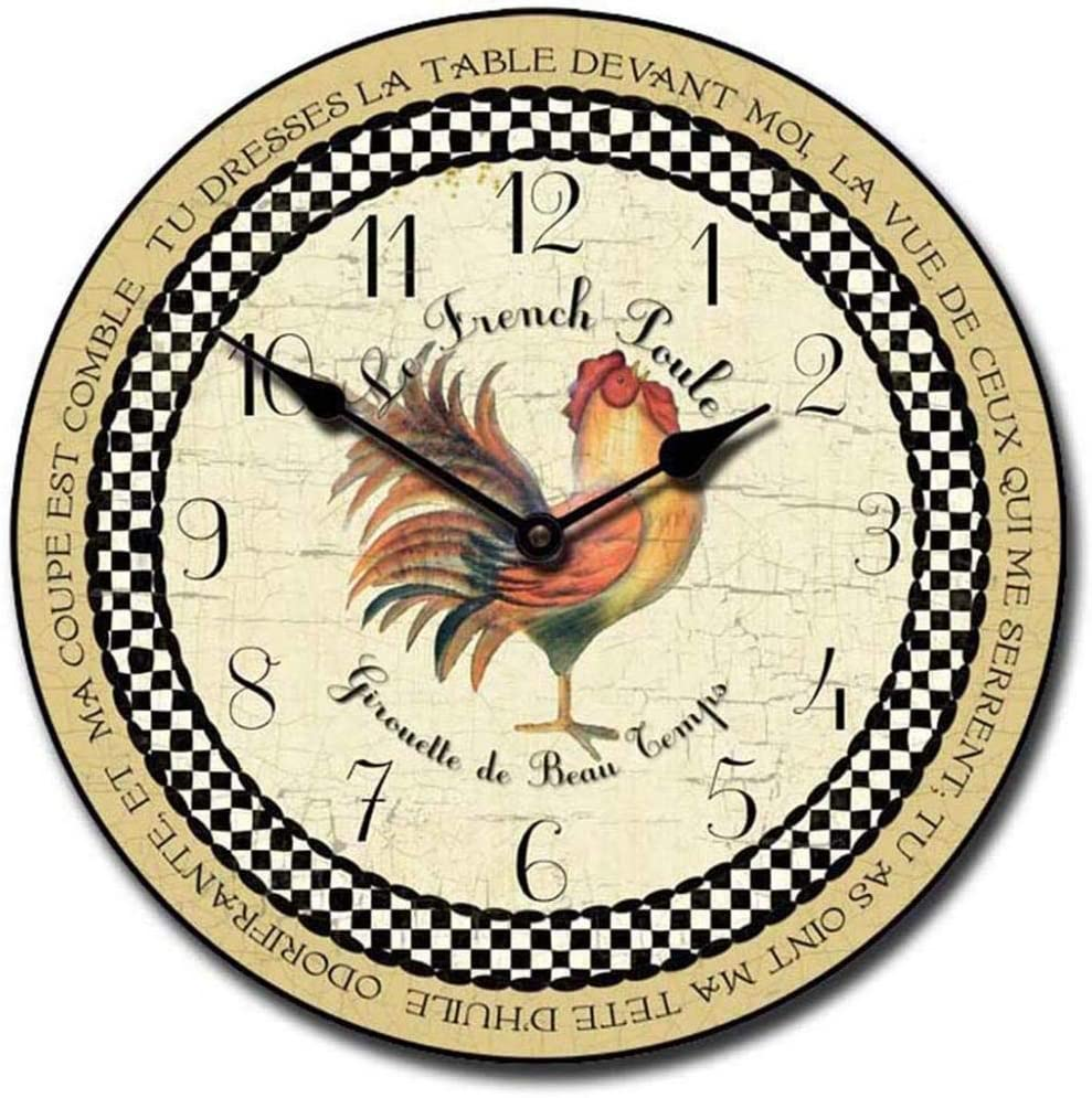Romanic Rooster in Tan Wall Clock Available Sale special price 8 Si Louisville-Jefferson County Mall Most Sizes