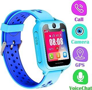 PTHTECHUS Telefono Reloj Inteligente GPS Niños - Smartwatch con Localizador GPS LBS Podómetro Juegos Despertador Camara Linterna per Niño y Niña de 3-12 Años (GPS, Azul)