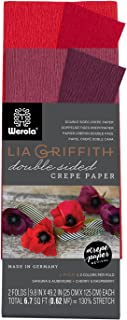 Lia Griffith Double Sided Crepe Paper Folds Roll, 6.7-Square Feet, Sangria and Aubergine, Cherry and Raspberry (LG11022)