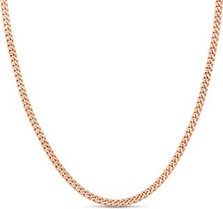 Kezef Creations Rose Gold Plated Sterling Silver 3mm Miami Cuban Link Chain Necklace 11 Inch