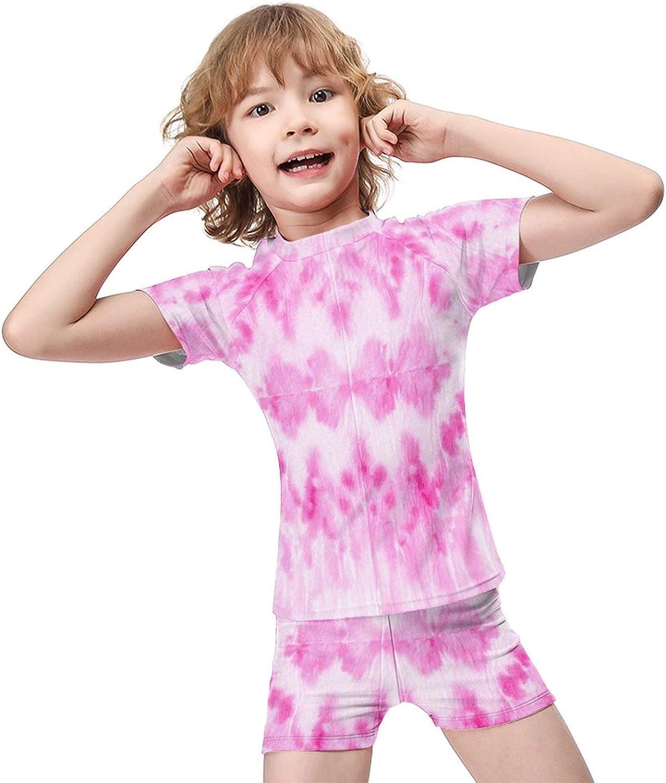 Tie-Dye Boys Two Piece Swimsuits Kids Short Sleeve Sunsuit UPF 50+ Swimwear Sets