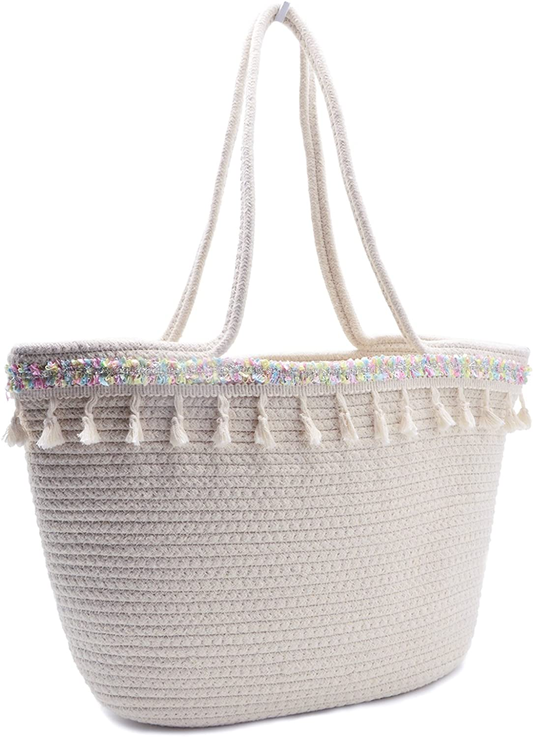 Beach Tote Bag Handmade Cotton Woven Travel Tote Tassels Shoulder Bag for Women (Style 05)