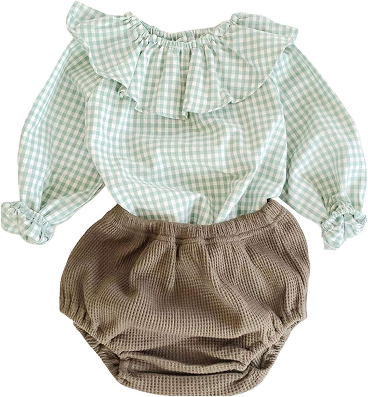 Baby Girl Clothes Short Sets Ruffle Plaid Long Sleeve Outfit Shirt Pant Set