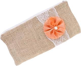 F Fityle Wedding Hessian Jute Flower Lace Zipple Clutch Linen Purse Makeup Bag Accessory