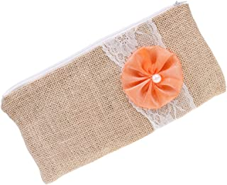 F Fityle Wedding Hessian Jute Flower Lace Zipple Clutch Linen Purse Makeup Bag Accessory