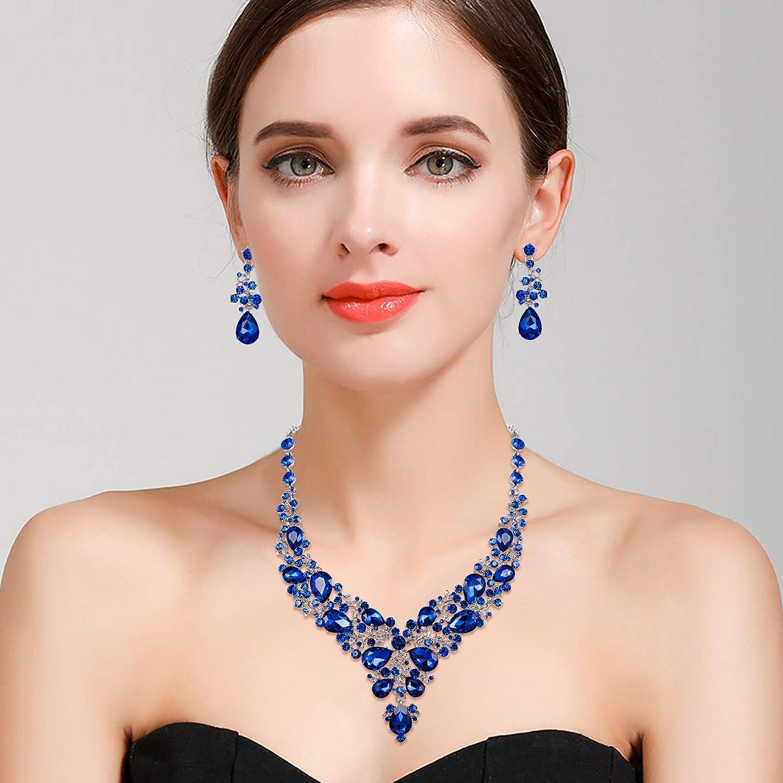 BriLove Women's Wedding Bridal Austrian Crystal Rhinestone Beaded Teardrop Cluster Statement Necklace Dangle Earrings Jewelry Set