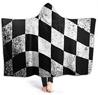 NTQFY Checkered Flag Blanket Novelty Sherpa Plush Throw Wearable Fleece Blanket Fuzzy Blanket for Couch Sofa 50