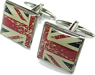 Mens Executive Cufflinks European Traveler Split Vintage Union Jack British Flag Cuff Links