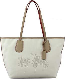 35337M Canvas Horse and Carriage Taxi Tote Khaki/chalk