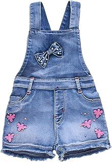 Yao 3-14Jahre Mädchen Jumpsuit & Strampler Big Kid Lätzchen Overalls Blau Verstellbare Gürtel Denim Farbe Veränderbare Paillettenhose