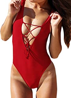 Women's One Piece Swimsuits Monikini Lace-up U Back Bathing Suit