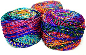 Revolution Fibers Recycled Sari Silk Yarn, Multi-Color Pure Silk Yarn, Made from Handspun Used Sari Fabric Ribbon Scraps, Rainbow Yarn for Knitting, Weaving & Crocheting 100 Grams per Ball (1-Pack)
