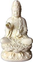 HYBAUDP Statues Collectible Guan Yin Statue Figurine Buddhist, Kuan Yin Meditating on Lotus Throne Statue Buddha Themed Re...