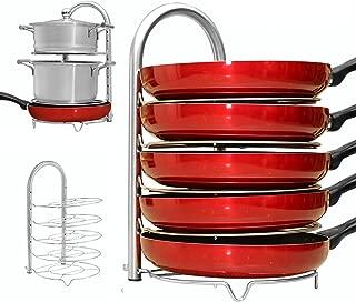 WiseLife Height Adjustable Pan Pot Organizer Rack, 5-Tier Stainless Steel,10 11 & 12 Inch Heavy Duty Kitchenware Cookware Pot Rack Holder Kitchen Cabinet Countertop Storage Solution
