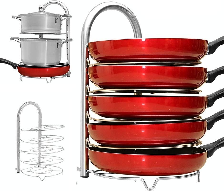 WiseLife Height Adjustable Pan Pot Organizer Rack 5 Tier Stainless Steel 10 11 12 Inch Heavy Duty Kitchenware Cookware Pot Rack Holder Kitchen Cabinet Countertop Storage Solution