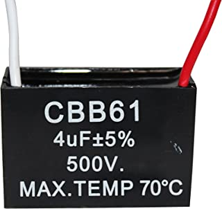 CompStudio 1PC 500V 4UF CBB61 Terminal Ceiling Fan Motor Running Rectangle Capacitor 2 wires