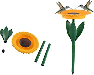Home-X Decorative Sunflower Bird Seed Feeder and Birdbath, Pole Yard Feeder for Bird Food and Water, Outdoor Lawn and Garden Decorations for Small Wild Birds