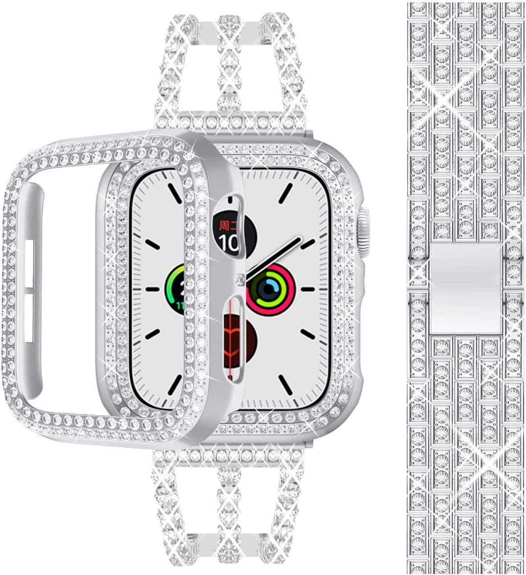 Compatible for Apple Watch Band 38 40 42 44mm, iWatch Band Series SE/6/5/4/3/2/1 + Bling Case, Stainless Steel + Metal Slim Rhinestone Diamond Strap, Bracelet Replacement, Silver 40mm