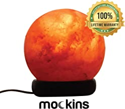 Mockins Natural Himalayan Salt Sphere Lamp with Beautiful Wood Base -Includes Light Bulb and On and Off Switch | Great Adult Night Light and Decor