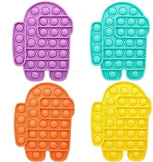 4Pcs Among pop Bubble Sensory Fidget Toy, Push Pop Bubble Fidget Sensory Toy, Sensory Irritability Toy for Autism with Spe...