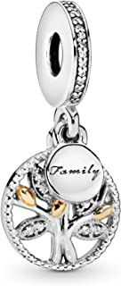 Pandora Jewelry - Sparkling Family Tree Dangle Charm in Sterling Silver and 14K Yellow Gold with Clear Cubic Zirconia