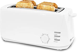 "Maxi-Matic Long Cool Touch 4-Slice Toaster Extra Wide 1.25"" Slots for Bagels Waffles, Specialty Bread, Cancel, Reheat, Defrost, 6 Shade Settings, White"