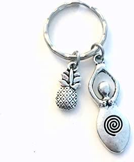 Fertility Key Chain, TTC Goddess Keychain, Pineapple Good luck Keyring, Silver Venus of Willendorf Conception Gift for Pregnancy, Baby Dust present ring, Wife Girlfriend Infertility IVF Jewelry