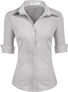 117ac485 Hotouch Womens Long/Short Sleeve Cotton Basic Simple Button Down Shirt