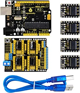 KEYESTUDIO CNC DIY Kit-Development Board for Arduino UNO R3+GRBL CNC Shield V3+4pcs DRV8825 Stepper Motor Driver+USB Cable