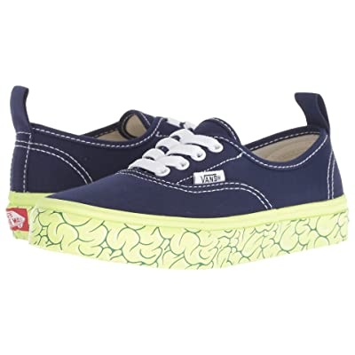 Vans Kids Authentic Elastic Lace (Little Kid/Big Kid) ((Brain Wall) Medieval Blue/Sharp Green) Boys Shoes