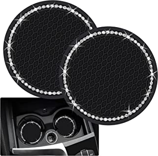 Vehicle Bling Car Cup Coaster, 2PCS Car Cup Holders, 2.75 inch Bling Car Cup Coasters, Glitter Cup Mats Universal Vehicle Cup Holder Insert Coaster for Most Car Interior with Heat Insulation Function