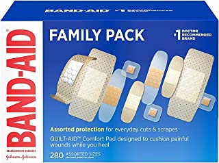 Band-Aid Brand Adhesive Bandage Family Variety Pack, Sheer and Clear Bandages, Assorted Sizes, 280 ct, Pack of 10