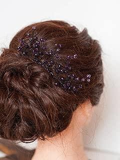 FXmimior Bridal Hair Accessories Hair Comb Violet Wedding Purple Bridesmaid Headwear Branch Comb Bridesmaid Gift Amethyst Beaded Hair Piece Wedding Prom Hair Comb