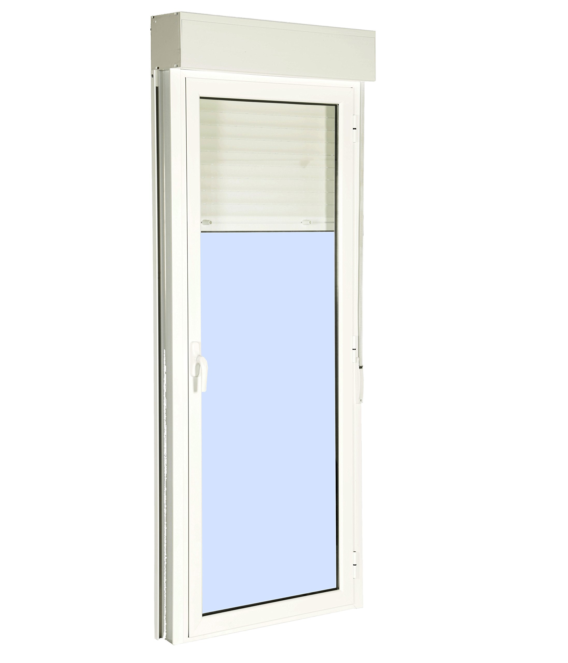 Puerta Balconera Aluminio Practicable Derecha Con Persiana PVC 880 ancho x 2185 alto 1 hoja (guías y cajón persiana en kit): Amazon.es: Bricolaje y herramientas